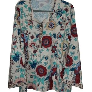 Miss Look floral with birds print boho top…